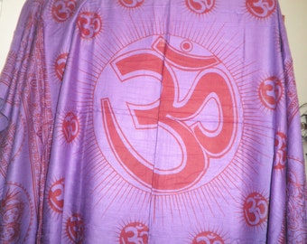 OM Symbol MEDITATION- Prayer SHAWL- Large-approx  3 3/4 X 5 1/2 ft -Yoga-Hindu -Buddhist Diety-