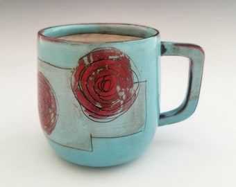Handmade Mug, Porcelain Mug, Ceramic Mug, Coffee Cup, Pottery Mug with Rose,  16 ounce mug