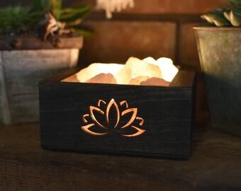 Brown Lotus Flower Himalayan Salt Lamp - Hopper Style