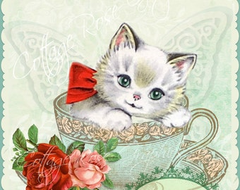 Kitten in Tea Cup Add Your Own Text Tea Party pink roses digtial printable download BUY 3 get one FREE ecs svfteam