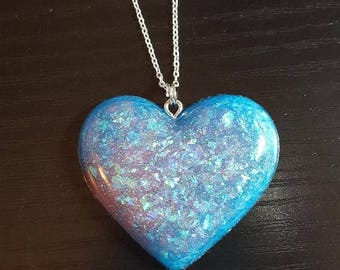 Resin Blue Pink Heart Fairy Kei Pastel Goth Silver Chain Necklace