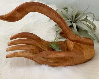 Vintage Mid Century Wood Hand Sculpture/A Bird in the Hand