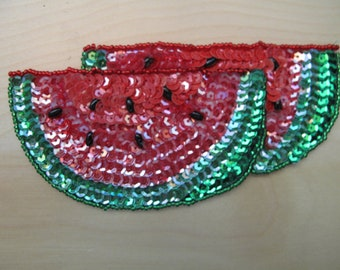 "Expo 5 1/4"" x 2 1/2"" Double Watermelon Slice Sequin Sew-On Applique/Patch"