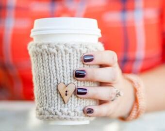 Knit Coffee Sleeve, Knit Travel Mug Sleeve, Coffee Cozy, Heart Coffee Sleeve, Reusable Coffee Sleeve, Travel Mug Warmer