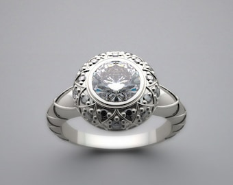 Engagement Ring Setting Artistic Feminine Details With Diamond Accents Made In The USA