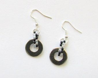 Industrial Earrings - Washer Earrings - Black and White Earrings - Striped Earrings - Metal Earrings - Hardware Earrings