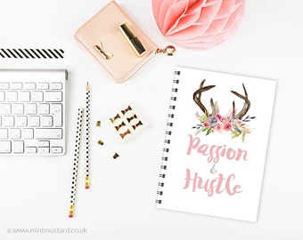 Passion and Hustle Notebook | A5 Notepad | Office Decor | Journal | Watercolour Florals | Gift for Her | Bronze Binding