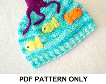 Hat Knitting Pattern - Octopus Hat Pattern - the OLLIE Hat (Newborn, Baby, Toddler, Child & Adult sizes incl'd)