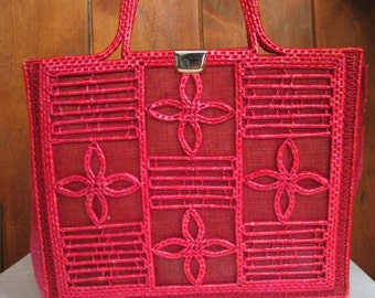 Pink Natural Woven Fiber Handbag - Beach Bag - Briefcase By VALERIE made in Italy book bag- tablet-ipad bag in excellent vintage condition.