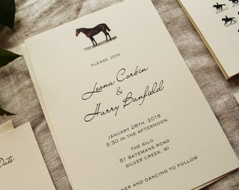 Horse Wedding Invitation Suite   Barn Wedding Invite Printed   Equestrian Wedding Invitations Downloadable   Rustic Wedding Invitation