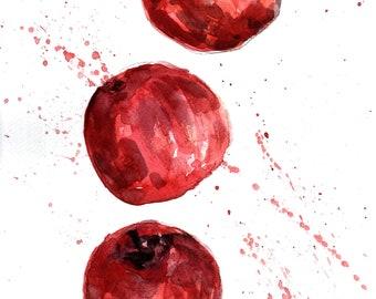 """Apple watercolor painting, original artwork, fruit painting for kitchen decor,  8,5"""" x 12"""" watercolor artwork"""