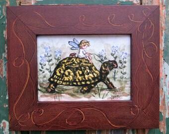 Fairy, turtle, Spring print, wildflowers, girls room decor,