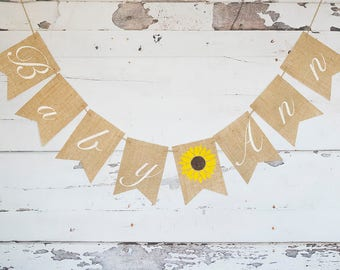 Sunflower Baby Shower Decoration, Summer Baby Shower Banner, Sunflower Nursery Decor, Rustic Baby Prop, Personalized Sunflower Sign, B603