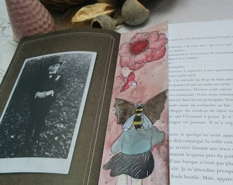 """Bookmark is hand """"Clémentine McBee"""" Collection """"Clémentine"""" Bookmark Art drawing print"""