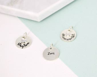 "Personalized 9/16"" name charm • Engraved Charm • Personalized Charm • Name Charm • Silver Jewelry • Silver name charm"