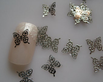No.13 MS244-1 100pcs Nail art Silver Butterfly Deco Metal Sticker Nail Art Deco