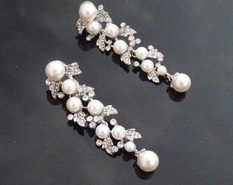 Vintage Style Silver Earrings, Pearl Drop Earrings, Hayworth