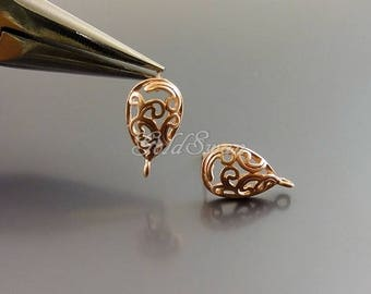 2 pcs / 1 pair matte rose gold paisley filigree earrings, paisley earrings 1039-MRG (rose gold, 2 pieces)