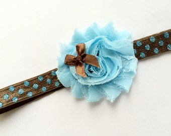 Shabby Flower Headband - Baby Headband - Newborn Headband - Girls Flower Headbands - Flower Girl Headband - Blue Flower Head Band for Babies