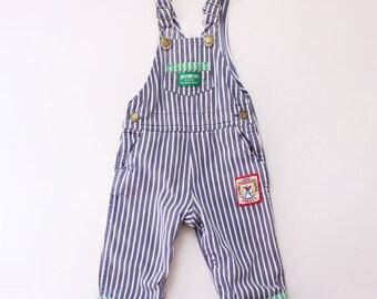 Vintage osh kosh 24m overalls 80s eighties 90s nineties style OSHKOSHBGOSH carpenter blue white stripes vertical green rough tough sweats