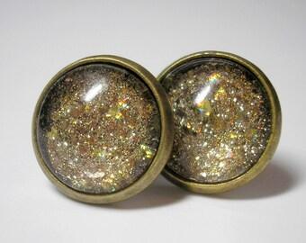 Gold Glitter Stud Earrings - Nail Polish Earrings