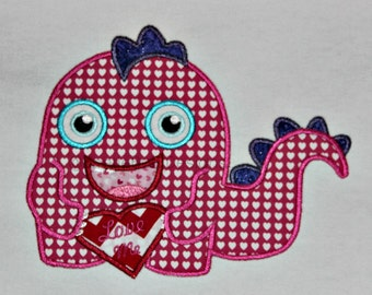 Love Me Valentine Little Monster Applique Design