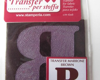 Transfer for fabric - b - brown color - 6 cm x 6 cm