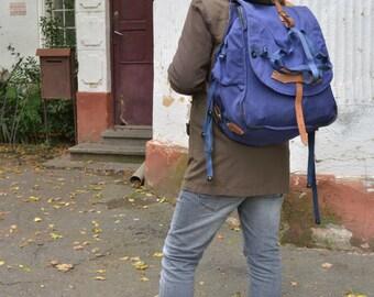 Vintage Backpack, Rare Canvas Rucksack, Hiking Bag, Navy Blue Backpack, Heavy Duty Backpack, Traveler Rucksack, Vintage Gift for Him