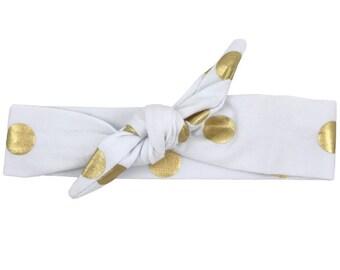 White & Gold Polka Dot Top Knot Headband