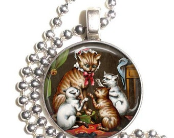Three Little Kittens with their Mother, Cat Resin Art Photo Pendant, Earrings and/or Keychain, Cat Jewelry, Silver and Resin Charm Jewellery