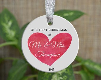 Personalized Christmas Ornament, Our First Christmas as Mr & Mrs, Custom Ornament, Ornament Bride gift, Wedding gift, Christmas gift. o086