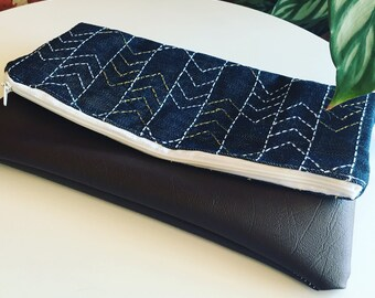 Sashiko embroidered denim and faux leather clutch / denim clutch/ women's clutch / fold over clutch / foldover clutch Waffle and Weave