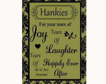 Olive Green Damask Hankies And Tissues Personalised Wedding Sign