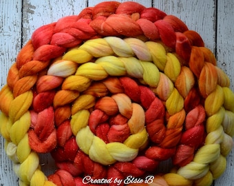 Rambouillet/ Gold Sparkle 'Phoenix' 4 oz spinning fiber, Created by Elsie B hand dyed wool roving, gold stellina combed top, yellow, orange