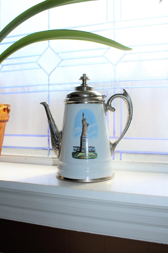 Antique Enamelware Coffee Pot with Statue of Liberty Early 1900s