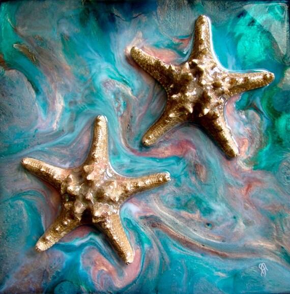 Coastal Starfish Painting, Starfish Original Art, Original Beach Art, Beach house art, Coastal Art, Starfish Painting, Ocean painting