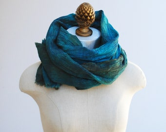cotton scarf, deep teal blue, rustic, transitional wrap