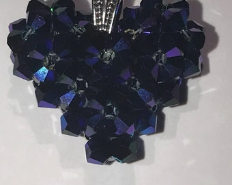 Beaded Swarovski Heart Pendant - Royal Purple