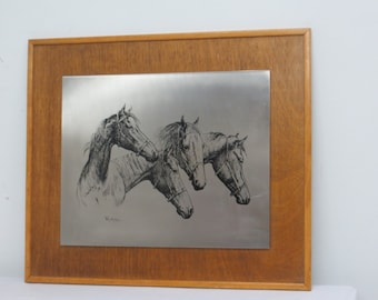 Signed Engraving Plate Depicting Horses