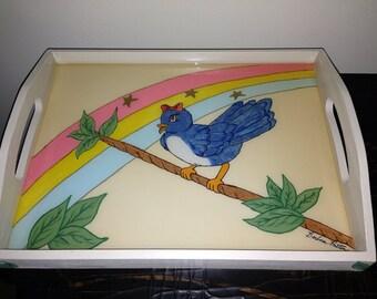 Little Miss Blue Bird Singing Under a Rainbow Decorative Handled Tray