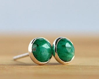 Natural Emerald Stud Earrings, Rose Cut Green Gemstone Posts, May Birthstone in Sterling Silver 14k Rose Gold Filled 6mm 8mm 10mm