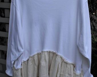 3X Knit-Muslin Tunic/ Ruffles-Raw Seams/ White Top/Natural Bottom/ Funky Chic/ Oversize/ Restyled Thrift/ Fringy Funwear/ Sheerfab Handmade