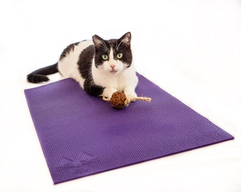 Yoga Mat For Cats - Cat Mat, Scratcher & Cat Toy  - Catnip Ball attached- Available in 6 colors including purple, Made in LA by Feline Yogi