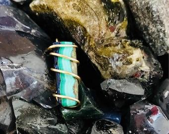 Malachite Pendant, Azurite Malachite Pendant, Layered Pendant, Brass Wire Wrap Pendant