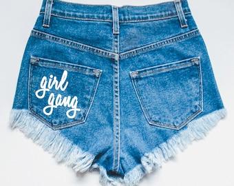 Girl Gang - High waisted shorts - jean shorts - distressed shorts - ripped shorts - women's shorts - high waisted - feminist - feminism