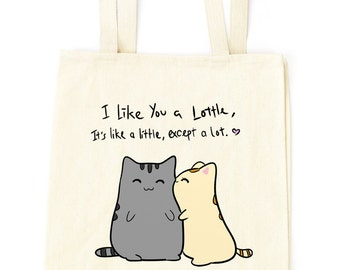 love cats i like you tote bag - Designed and Printed in USA