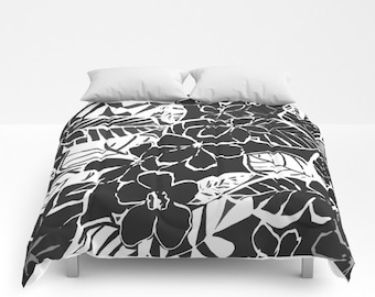 Floral comforter rose duvet cover twin full queen king floral duvet cover full queen king duvet flower pattern floral bedding abstract floral comforter black white gray bedroom tropical bed mightylinksfo