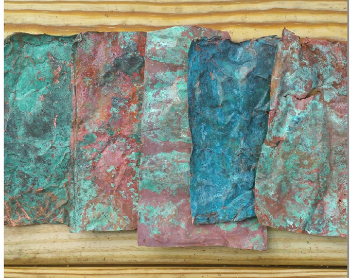 Aged Verdigris Copper Sheet Sample Pack Including Three Different Patinas - Blue Green Copper Crafting Material - Metal Working Art Supplies