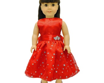 Red Dress with Sequence for 18 inch dolls
