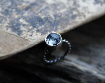 Tourmalinated Quartz Ring, rutilated quartz, summer jewelry, Rings, stacking ring, gemstone ring, Sterling silver, Stackable ring, MARIAELA